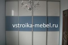 Встроенный шкаф-купе 3200*680*2600 (Ш*Г*В) 37000 р. (ЛДСП-белый глянец и синий/профиль-серебро)